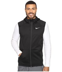 Nike Therma Hoodie Sleeveless Full Zip Swoosh Black White Men's Sweatshirt