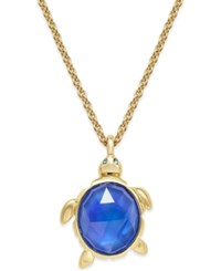 Kate Spade New York Gold Tone Glass Stone Turtle Pendant Necklace