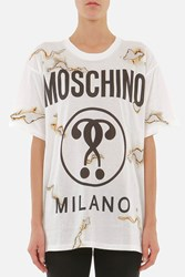 Moschino Printed Front Cotton T Shirt White