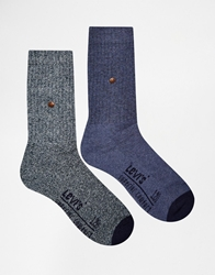 Levi's Regular Cut Socks In 2 Pack Blue