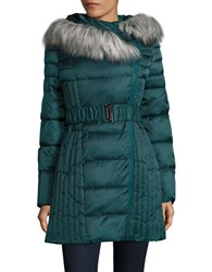 Betsey Johnson Faux Fur Trimmed Hooded Puffer Jacket Jade