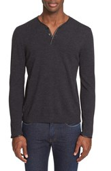 Men's The Kooples Leather Trim Merino Wool Henley