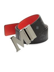 Mcm Two Toned Reversible Leather Belt Black