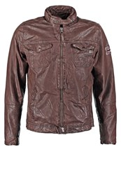 Pepe Jeans Guzzi Leather Jacket Brown