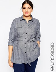 Asos Curve Casual Belted Longline Shirt With Raw Edge Details Navy