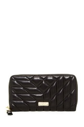 Badgley Mischka Clara Nappa Leather Quilted Wallet Black