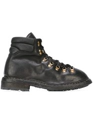 Guidi Distressed Hiking Style Boots Black