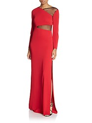 Abs By Allen Schwartz Mesh Trim Gown Red