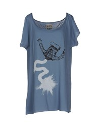 Mary Cotton Couture Topwear T Shirts Women Slate Blue