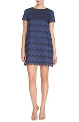 Women's Cece By Cynthia Steffe 'Kayte' Chevron Eyelet Shift Dress Navy