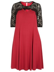 Evans Scarlett And Jo Red Cross Front Lace Dress