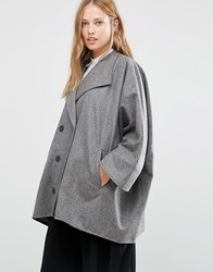 Cooper And Stollbrand Oversize Double Breasted Short Coat In Grey Dark Grey