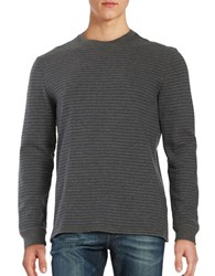 Black Brown Striped Cotton Top Ash Heather