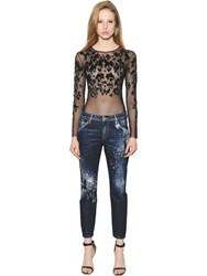 Amen Leopard Pattern Beaded Tulle Bodysuit