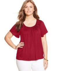 Styleandco. Style And Co. Plus Size Short Sleeve Pleated Top New Red Amore
