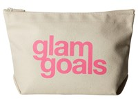 Dogeared Glam Goals Lil Zip Pink Canvas Cosmetic Case