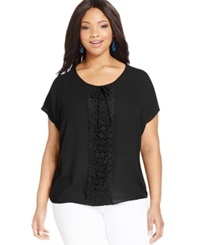 Ing Plus Size Short Sleeve Crochet Trim Blouse