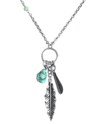 Lucky Brand Necklace Silver Tone Semi Precious Turquoise Feather Charm Necklace