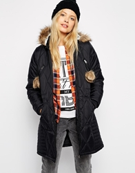 Bellfield Diamond Padded Coat With Pom Poms Black