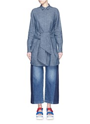 Msgm Wrap Front Chambray Tunic Top Blue