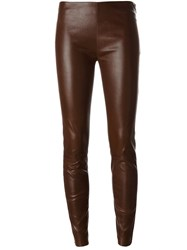 Jitrois Skinny Leather Pants Brown