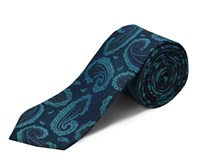 Double Two Polyester Paisley Tie Blue
