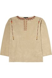Isabel Marant Marvin Oversized Embroidered Suede Top Nude