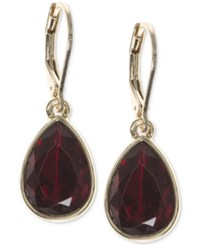 Nine West Faceted Stone Teardrop Drop Earrings Red