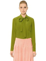Rochas Bow Collar Pleated Chiffon Shirt