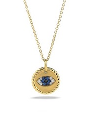 David Yurman Cable Collectibles Evil Eye Charm Necklace With Blue Sapphire Black Diamonds And Diamonds In Gold