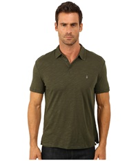 John Varvatos Soft Collar Peace Polo With Contrast Stitching And Peace Sign Chest Embroidery K1381r3b Kelp Men's Clothing Green