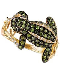 Effy Collection Diaverde By Effy White 1 8 Ct. T.W. And Green 3 4 Ct. T.W. Diamond Frog Ring In 14K Gold