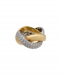 Poiray 18K Two Tone Braided Diamond Band Ring Multi