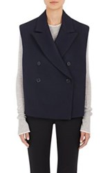 Helmut Lang Women's Cotton Wool Double Breasted Vest Navy