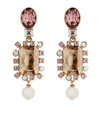 Oscar De La Renta Crystal Pearl Drop Clip On Earrings Female Pink