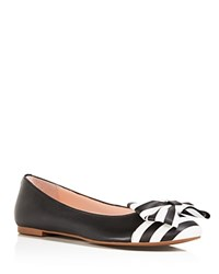 Kate Spade New York Wallace Bow Cap Toe Ballet Flats Black White