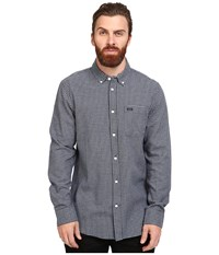 Rvca That'll Do Twist Long Sleeve Woven Dark Denim Men's Clothing Navy