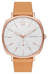 Skagen Women's 'Rungsted' Leather Strap Watch 34Mm Brown White Rose Gold