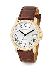Saks Fifth Avenue Goldtone Stainless Steel And Croc Embossed Leather Strap Watch Gold Brown