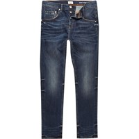 River Island Mens Dark Blue Wash Chester Vintage Tapered Jeans