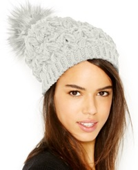 Collection Xiix Homespun Solid Beanie With Faux Fur Pom Pom Polar White