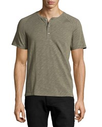 Vince Slub Knit Henley Tee Fatigue Green Sage Green