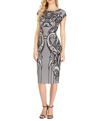 5Twelve Lace Print Cap Sleeve Midi Dress White Black