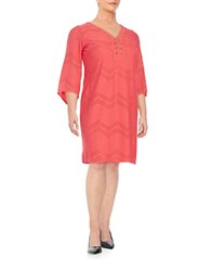 London Times Plus Zigzag Perforated Tunic Dress Coral