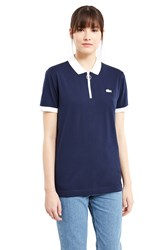 Lacoste For Opening Ceremony Cyclist Zipper Collar Polo Shirt Navy White