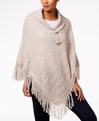 Karen Scott Cable Knit Fringe Poncho Only At Macy's Beige Marl