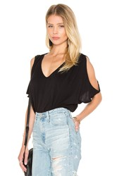 Velvet By Graham And Spencer Jay Modal Knit V Neck Top Black