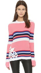 Michaela Buerger Donna Carolina Fitted Sweater Light Pink White Blue Black