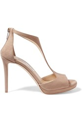 Jimmy Choo Lana Suede Sandals Beige