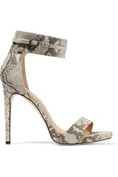 Halston Ellen Snake Effect Leather Sandals Animal Print